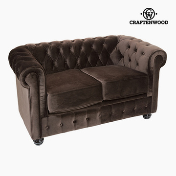 2-persoons Chesterfield bank Fluweel Bruin - Relax Retro Collectie by Craftenwood