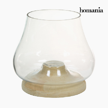 Candleholder Glas Hout - Pure Crystal Deco Collectie by Homania