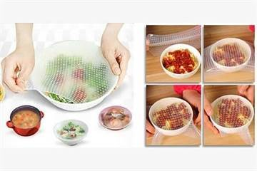 Stretch-and-Fresh Krimpfolie silicone deksels 4 stuk